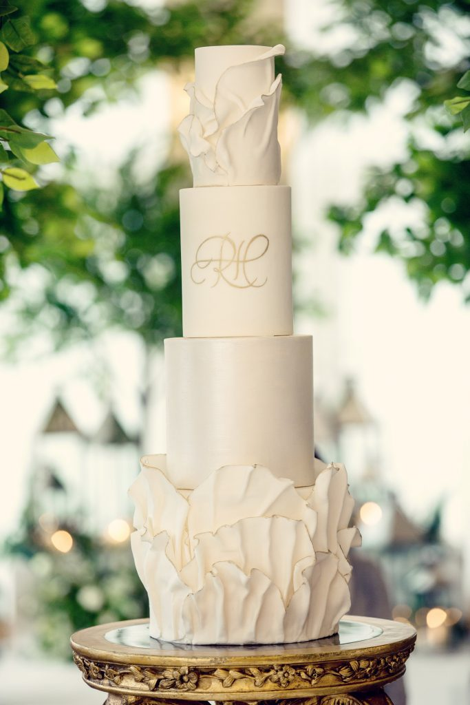 white and gold wedding cake by Abigail Bloom Cake Company London