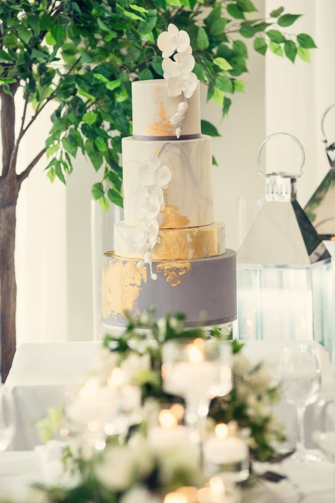 white grey and gold wedding cake by Abigail Bloom Cake Company London