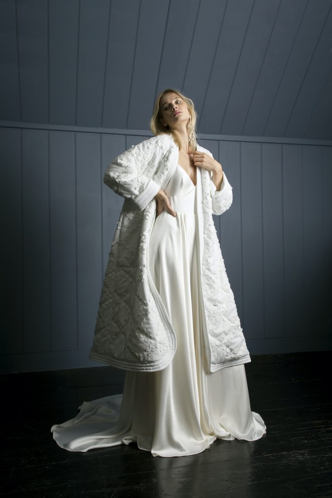 Oversized quilted bridal coat by Halfpenny London