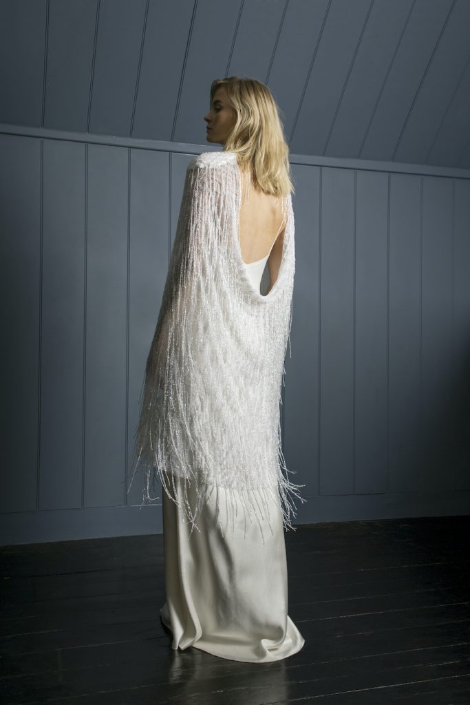 Statement beaded bridal cape by Halfpenny London