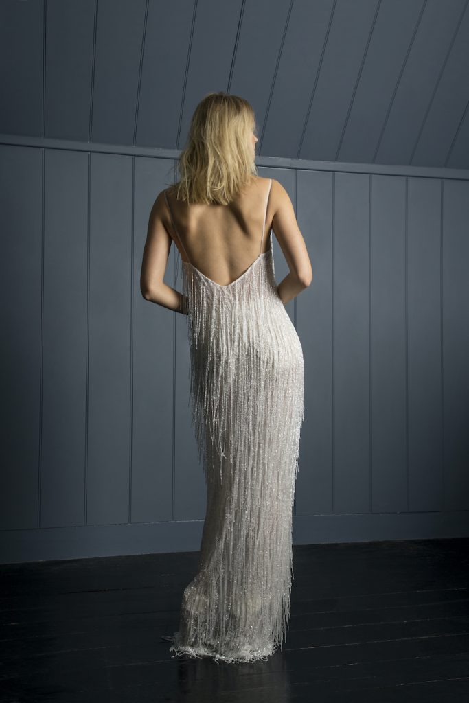 Beaded full length bridal dress by Halfpenny London