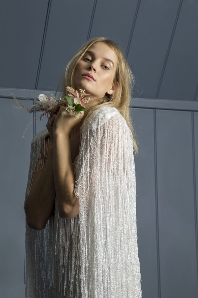 Statement beaded bridal cape and beaded dress by Halfpenny London