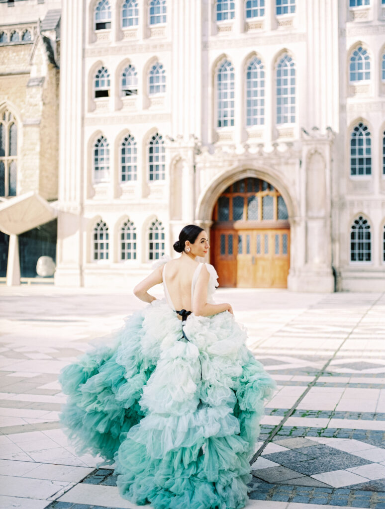 Green and white ombre wedding dress